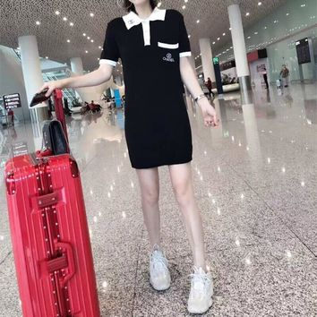 """Chanel"" Women Casual Fashion Multicolor Lapel Short Sleeve T-shirt Knit Mini Dress"