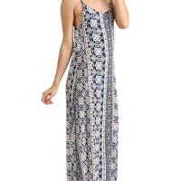 MIXED PRINT LOW BACK MAXI
