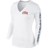 Nike USA Ladies Anthem V-Neck Performance Long Sleeve T-Shirt - White