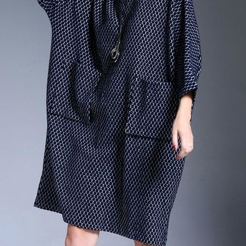 Miting Casual Plaid Loose Big Pockets Women Dresses