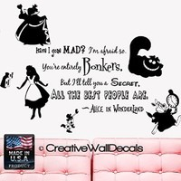 Wall Decal Vinyl Sticker Decals Art Decor Design Alice in Wonderland Rabbit Cat Clock Have you gone Mad Quote Dorm Bedroom Fashion (r1335)