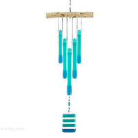Teal Wind Chime, Teal Windchime, Blue-Green Glass Chimes,Oregon Beaver Stick