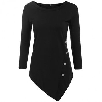 Irregular Hem Button O-Neck Long Sleeve Solid Slim T-Shirt