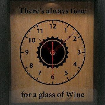 "Shadow Box Clock Wine Cork/Bottle Cap Holder 9""x11"" - There's Always Time For A Glass Of Wine"