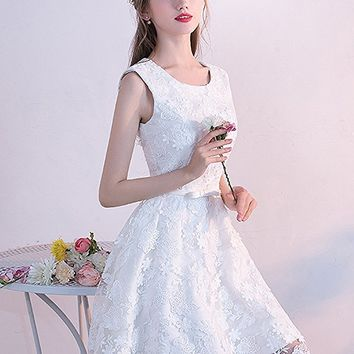 Women's White Lace Bateau Cocktail Length Babydoll Homecoming Dress