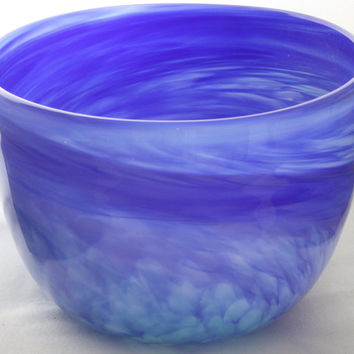 Opaque Blue and Green Wide Mouth Glass Bowl, Hand Blown Glass Bowl - Free Shipping