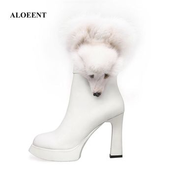 ALOEENT Western Style Fashion Winter Sex Motorcycle Boots Fox Genuine Leather Zipper Pointed Toe Super High Ankle Women'S Shoes