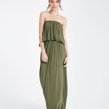 Strapless Ruffled Bodice Maxi Dress | Wet Seal