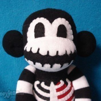 Sock Monkey : Macabre - The Original Skeleton Sock Monkey - Handmade Plush Doll Toy -  Black and White Striped