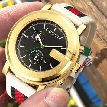 Gucci Watch Gold Dial&White Wrist band(Discount Time)