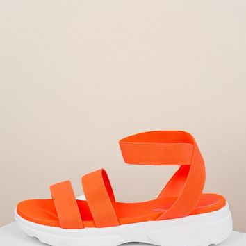 Stretchy Straps Sneaker Sole Flatform Sandals