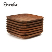 Set of 2 Square Wooden Plates Premium Acacia Wood Square Cake Dishes Dessert Serving Tray Wood Sushi Plate Dinnerware Tableware