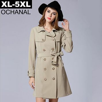 XL - 5XL Plus Size Trench Coat Female Autumn 2017 Turn Down Collar Long Outerwear With Belt Pockets Khaki Color Women Coats