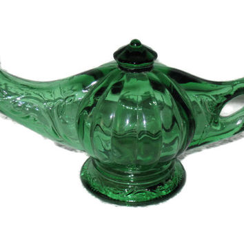 Vintage Avon, Aladdin's Lamp, Bottle, Home Decor, Glass Decanter, Green Glass, Home Decor, Collectible Glass, Vintage Avon, Lamp Decor
