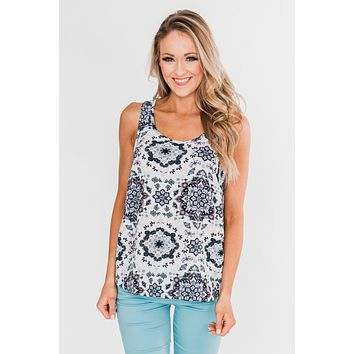 Dance With Me Geo Pattern Tank Top- Ivory & Navy