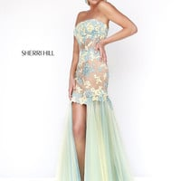 Sherri Hill 11110 - Yellow/Aqua Strapless High Low Prom Dresses Online