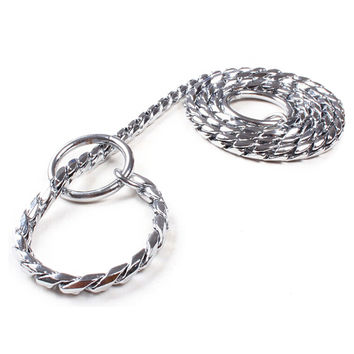 5mm Strong Chrome Metal Chain Dog Leash Adjustable Snake P Chock Training Collars Pet Supplies Lead Belts