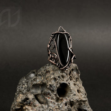 Wire ring, Wire copper ring, Antique jewelry, Unique copper ring, Unusual ring, Black stone ring, Copper Gothic ring, Black mystical ring