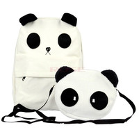 Cute Panda Canvas Backpack Book SchoolBag Casual Bag Handbag Purse  6299 (Color: White) = 5613059009