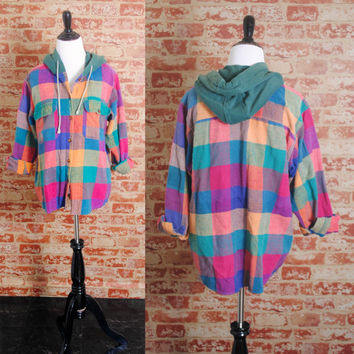 Vintage 1990s 90s HOODED orange green blue paper thick soft PLAID flannel GRUNGE button down shirt S M L