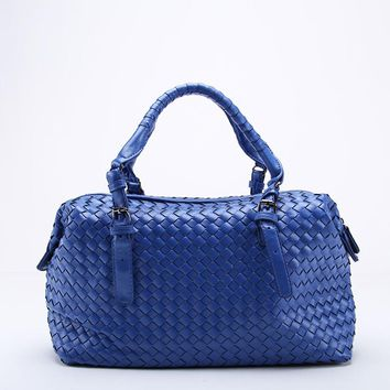 New Ladies Woven Leather Dumplings Handbag Cross Stitch Hobos Women's Knitting Boston Bag Large Casual