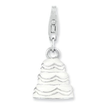 Sterling Silver Rhodium-plated 3-D Enameled Wedding Cake w/Lobster Clasp Ch QCC994