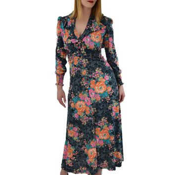 70s Floral Halter Maxi Dress and Jacket Set-M