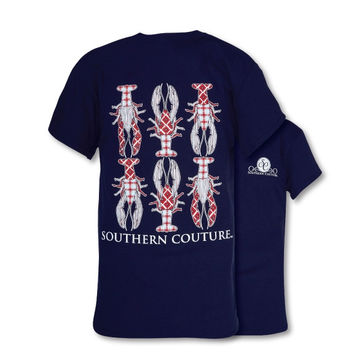 SALE Southern Couture Preppy Plaid Crawfish Shellfish T-Shirt