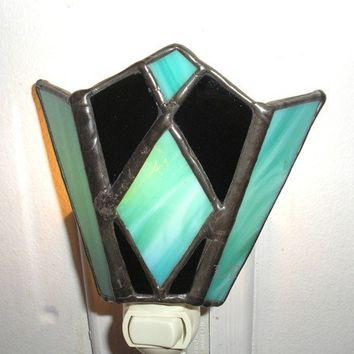 LT Stained glass turquoise aqua and  black diamond shapes night light lamp