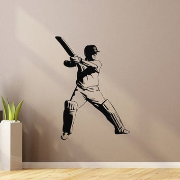 Sports Wall Decal Vinyl Sticker Cricket Bat Ball Sport Wall Decals Bedroom Dorm Boy Nursery Teen Kids Room Wall Art Home Decor Z842