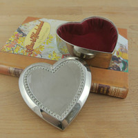 Small Vintage Silver Tone Heart Shaped Jewellery Box | Trinket Box