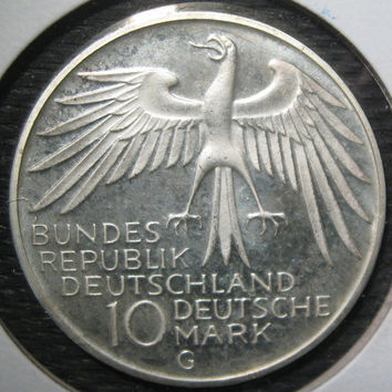 1972 G German Deutschland Silver Proof 10 Ten  Mark  62.5% Silver Coin Commemorating the Munich Summer Olympic Games Low Mintage 150,000