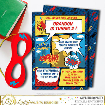 Superhero Party Birthday Invitation, Superhero Printable, You Edit Yourself with Adobe Reader , Digital Printable |DIY INSTANT DOWNLOAD