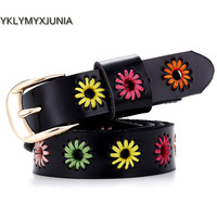 Promotional 2017  Pin Buckle Causal Women's Leather Belt Cheap Genuine Leather Women's Strap New Design  Belt Female Ancient