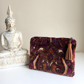 Boho Clutch Bag,Carpet Clutch Bag,Ethnic Clutch,Kilim Clutch Bag,Purple Clutch Purse,Boho Clutch,Zippered Clutch,zippered ipad case