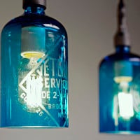 Etched Glass Seltzer Water Bottle Pendant Lights, Clear Or Blue; Price Per Light