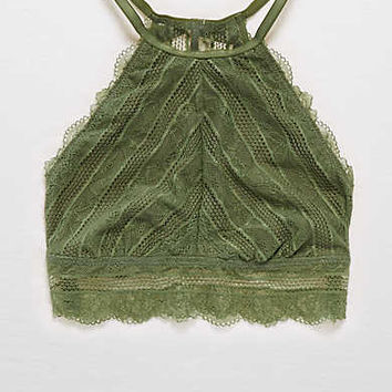Aerie Lace Hi-Neck Bralette, Rugged Green