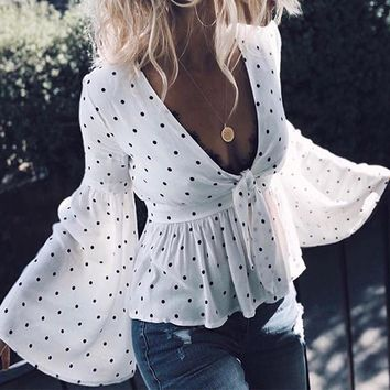 DeRuiLaDy 2018 Summer Women Polka Dot Print Blouse Shirts Sexy Deep V Neck Flare Long Sleeve Pleated Shirt Blouses Casual Tops