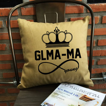 Glam-ma Pillow cover, Glamma Infinie Young, Mother Gifts, Grandmother Gifts, Funny Pillow, Quote Pillow cover cotton canvas pillow cover