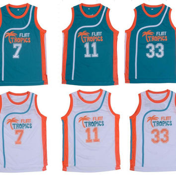 Retro Basketball Jersey Movie Semi Pro Flint Tropics Jackie Moon 33# Coffee Black 7# Ed Monix 11# Throwback Jerseys All Stitched