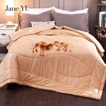 Cool JaneYU 2018 thicken winter camel hair quilt luxury thicken stitching comforter/duvet/blanket king queen twin size free shippingAT_93_12
