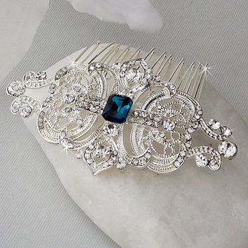 Art Deco Hair Comb - Swarovski Crystal Head Piece, Bridal Hair Comb Wedding Hair Comb, Bridal Accessories, Vintage Hair Comb -VERONICA