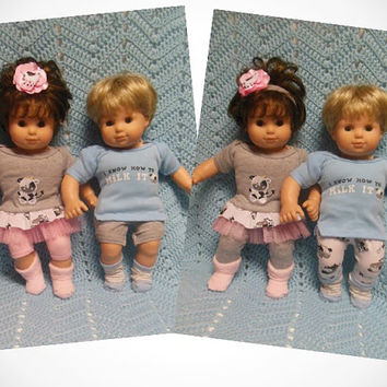 """American Girl Bitty TWINS clothes Bitty Baby clothes """"We Know How To Milk It"""" (15 inch) Boy and Girl Twins Set doll outfits cows blue pink"""