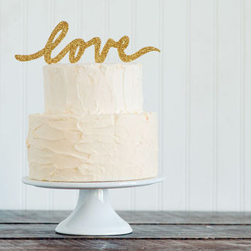 "GOLD or SILVER glitter ""LOVE"" script wedding cake topper"