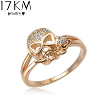 Woman's Small Jeweled Skull Ring