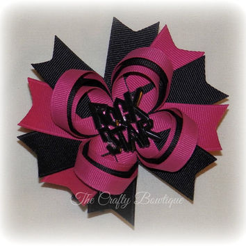 Rock Star Bow ~ Hot Pink & Black Bow ~ Hot Pink Loopy Bow ~ Black Loopy Bow ~ Large Loopy Bow ~ Loopy Headband Bow ~ Rocker Girl Bow