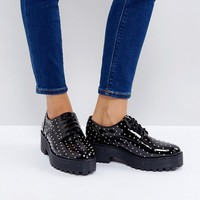 Monki Stud Faux Leather Brogue at asos.com