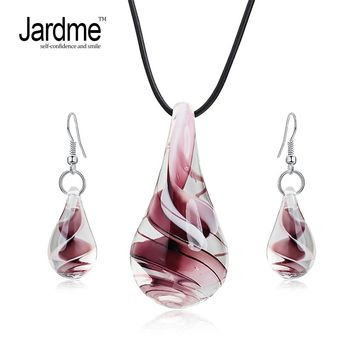 Jardme Jewelry Sets Screw-Type Murano Glass Inspiration Baroque Art Lampwork  Pendant Necklace Earrings Jewelry Sets For Women