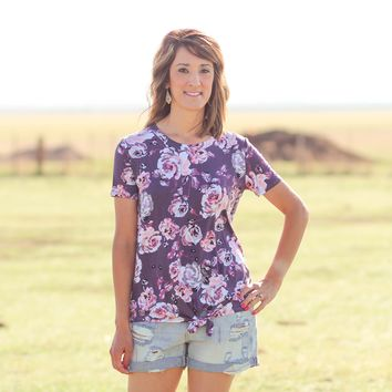 Sugarland Floral Tie Knot Top in Plum