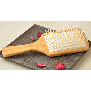 "Natural Bamboo Large Paddle Massage Hair Brush, Ball-Tipped Wooden Bristles 9.6"" (24.5cm)"